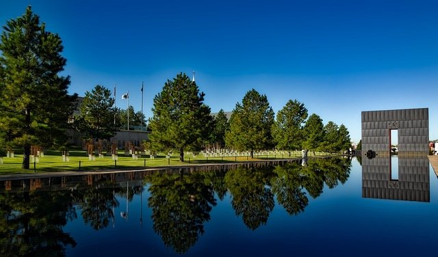 The reflecting pool at the Oklahoma City National Memorial and Museum provides calm for thought.