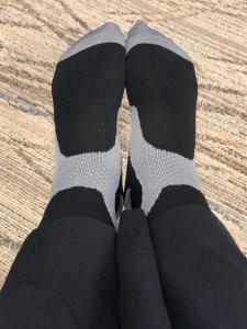 Here are the black Coolover compression socks I wore on my trip to California. I had great results. They were comfy, and I had no ankle swelling.
