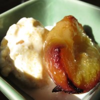 Grilled Peaches with Vanilla Ice cream and Kaya Honey Drizzle