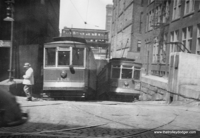 "Chicago had three streetcar tunnels Downtown over the years, but which one is this? Bill Shapotkin: ""This pic is the Van Buren St Tunnel -- view looks west across Franklin St. Note the ""Met"" train in the background:"""