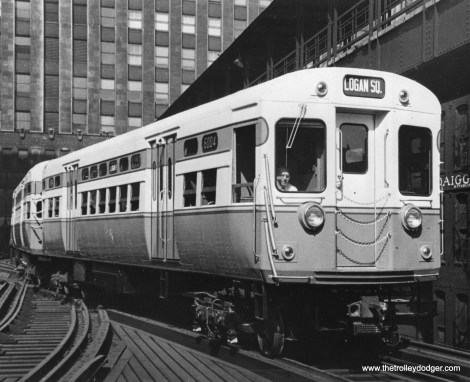 """Brand-new """"flat door"""" cars 6003-6004 are shown to good advantage at the North Water Terminal in 1950. (Clark Equipment Co. Photo)"""