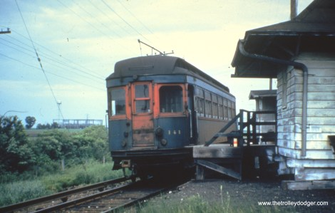 """141 at Batavia Junction. CA&E purchased this car from the North Shore Line in 1946. According to Don's Rail Photos, """"141 was built by American Car Co in March 1910, #844, as Chicago &Milwaukee Electric 141. It was rebuilt in 1914 and retired in 1954."""