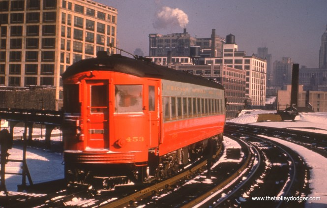CA&E 453 in a winter scene. Here, we are looking east from Halsted. (Truman Hefner Photo)