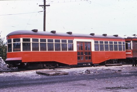 An 8000-series trailer from the 1920s, being used as a storage shed.