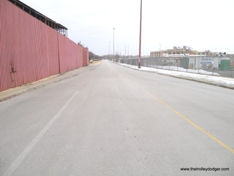 Looking east from First Avenue. The CA&E right-of-way veered off here to the right, while the Chicago Great Western freight line went straight ahead. Some years ago, a new bridge was built where the CGW crossed the DesPlaines River, for pedestrian and bike traffic.
