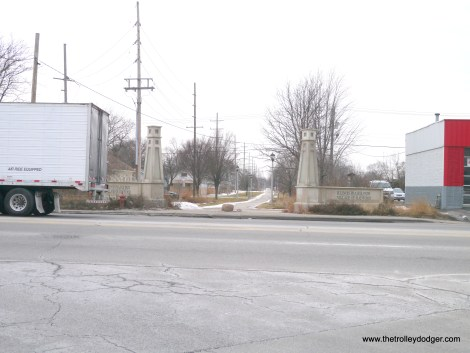 The Illinois Prairie Path begins at First Avenue in Maywood. We are looking west.