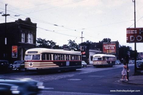 Prewar PCCs 7019 and 4035 at 63rd and Damen on June 30, 1951.