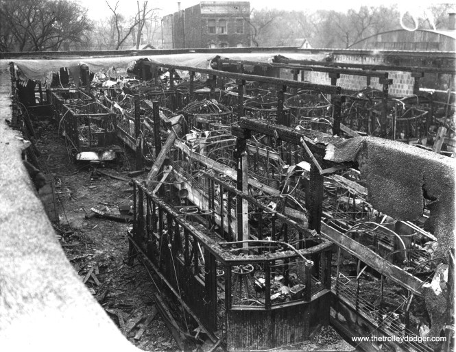 """December 2, 1936 - """"42 trolleys burn in $500,000 blaze. Forty two passenger and service trolley cars of the Chicago and West Towns Railway Company were destroyed when fire swept through the car barns in Oak Park, Ill., western suburb of Chicago. Busses will be used until the trolley cars can be replaced."""""""
