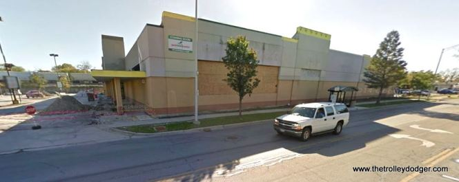 The site of the former Chicago & West Towns streetcar barn as it looks today. A Dominick's Finer Foods was built here in the 1980s, after Pace had purchased the West Towns and moved the bus garage elsewhere. Dominck's closed in late 2013 and the building is being converted into a Pete's Fresh Market.