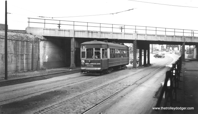 "Bob Lalich writes, ""CSL 5705 is WB on 95th St passing under the B&O viaduct. South Chicago Blvd is in the background."" Andre Kristopans agrees. (Joe L. Diaz Photo)"