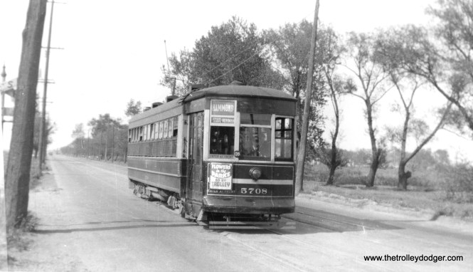 CSL 5708 on the Hammond-Whiting-East Chicago route, which got cut back to the state line in 1940.