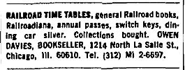 A typical Owen Davies Bookseller advertisement, from the February 1, 1970 Chicago Tribune.