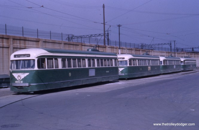 "#23 - Jeff Wien says, ""Cottage Grove-115th."" Bill Shapotkin: ""line-up of COTTAGE GROVE cars and end-of-line at Bumtown (oh, excuse me -- Kensington), 115th/Cottage Grove. View looks north."""