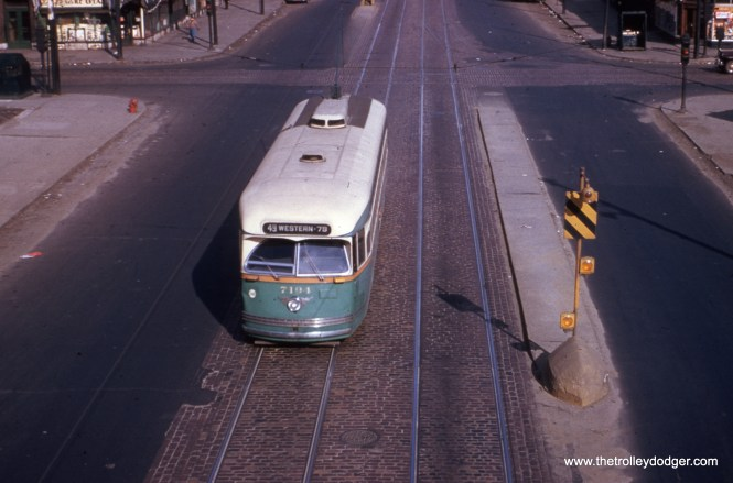 "Dan Cluley writes, ""I think #24 is Western & Van Buren. Going over the detailed map in the Lund CSL book, Van Buren is the only line to cross Western with a single Wbd to Nbd connector, and there was an L station there until they tore down the line in 1953."" If you compare this view to photos on pages 327-328 of CERA Bulletin 146, you'll see that they match pretty well. This picture must predate construction of the Van Buren temporary trackage for the Garfield Park ""L"", which probably dates the picture to no later than 1951."