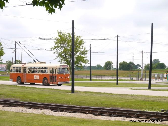 The Milwaukee trolley coach prepares to loop.