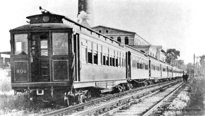 #8 - Metropolitan West Side Elevated car 800 and train at Glenwood Park on the CA&E Batavia branch on a charter. This car was built by Barney & Smith in 1901 and was renumbered to 2800 in 1913. This photo must predate that renumbering.