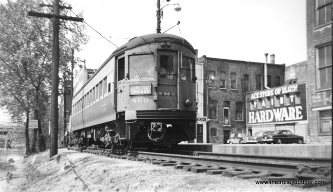 #1 - CA&E 460 in Elgin on May 14, 1953. Nowadays, 460 can be found operating at the Illinois Railway Museum.