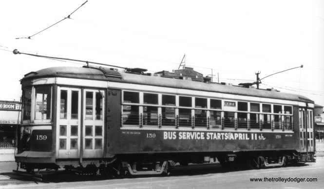 It's April 3, 1948, and the end of C&WT streetcar service will soon be at hand. This photo may be at Cermak and Kenton. There was a fantrip on the LaGrange line the day after service ended, something which occasionally happened on other properties. (Gordon E. Lloyd Photo)