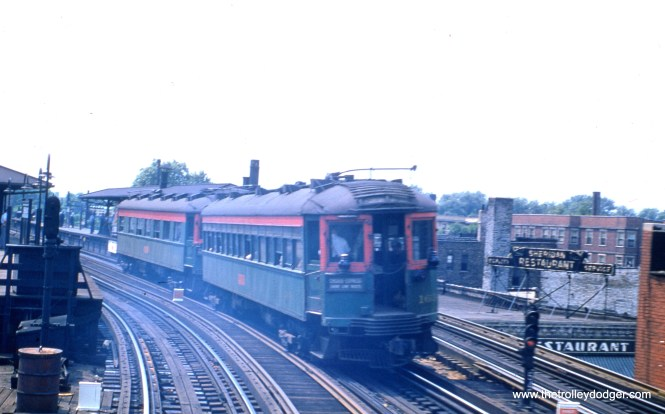 NSL 167 is at the tail end of a northbound two-car train approaching the CTA Sheridan Road station on July 6, 1955. This was a Chicago Express on the Shore Line Route during its final weeks of service.