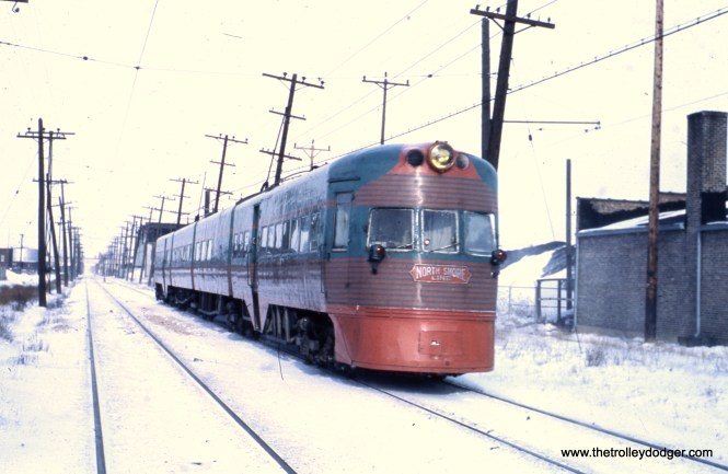 Electroliner set 803-804 departs Kenosha in January 1963, shortly before the end of service.