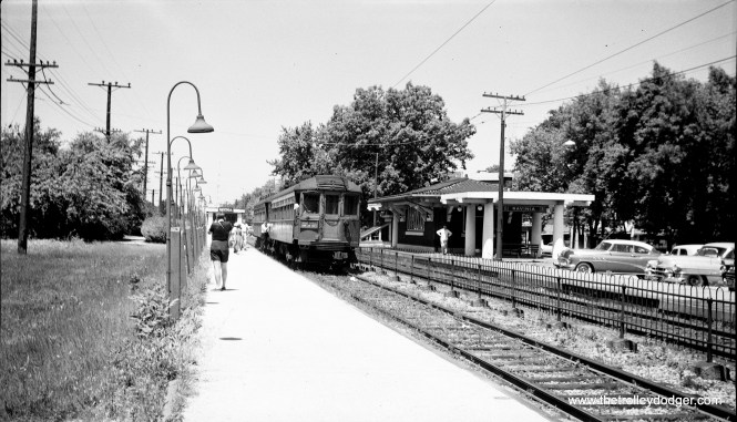 CNS&M 163 at the head of a two-car train at Ravinia on the Shore Line Route, July 24, 1955, the last day of service. (C. Edward Hedstrom, Jr. Photo)
