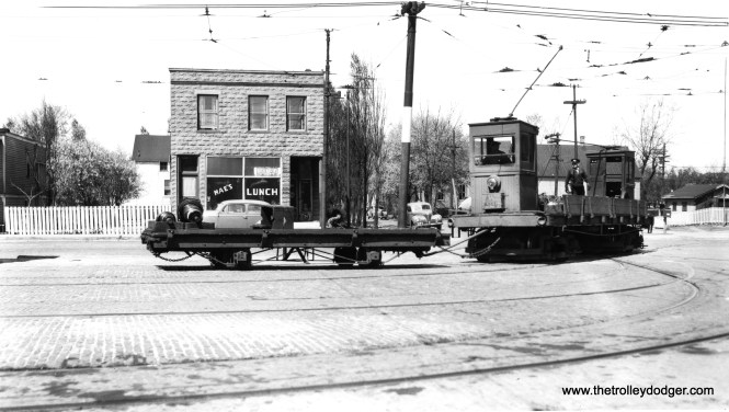 W227 with short, single-truck trailer carrying a load of motor armetures at Burnside Station (car house). (Joe L. Diaz Photo)