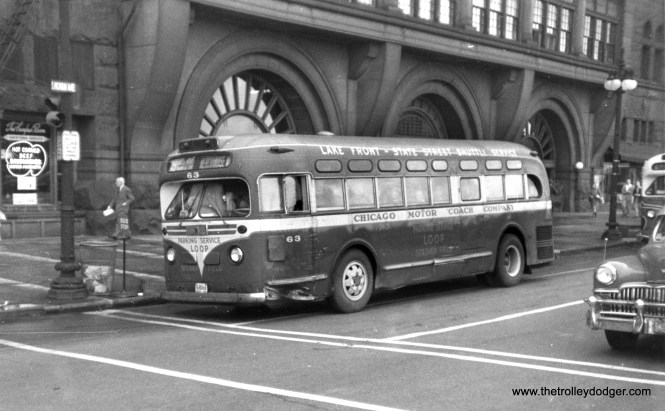 Chicago Motor Coach Company 63 on Michigan Avenue, in front of the Fine Arts building.