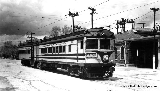 """Don's Rail Photos says, """"1182-1183 was rebuilt from an I&C (Indianapolis & Cincinnati Traction Co.) car in 1929 and scrapped in 1952."""" The car is shown at the North Side station in Milwaukee, signed for the Port Washington interurban line."""