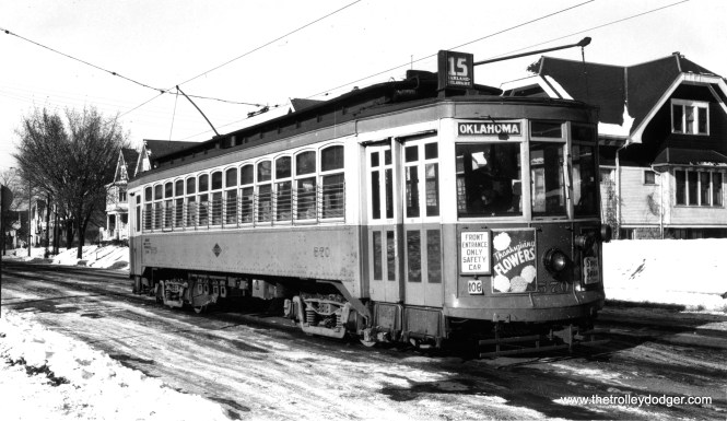 """Milwaukee city streetcar 570 on route 15. Don's Rail Photos adds, """"570 was built by St Louis Car Co in 1911. It was one manned in 1931."""""""