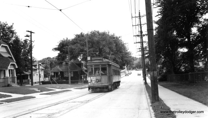 """The caption to this photo reads, """"City car - Milwaukee. Last 2-man car pulling into station on last run in West Allis."""" Charles Kronenwetter adds, """"Car 638 appears to be coming Northbound on 84th St approaching the National Ave intersection."""" Don's Rail Photos: """"638 was built at Cold Springs in 1913. It was reconditioned as a two man car in 1928."""""""