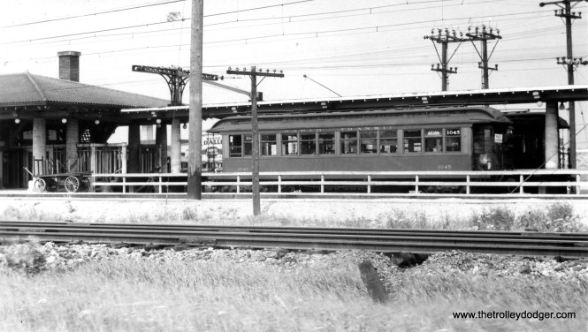 Niles Center train 1045 in the pocket at the Dempster station, with North Shore Line track in the foreground. The Skokie Swift never used this terminal arrangement.