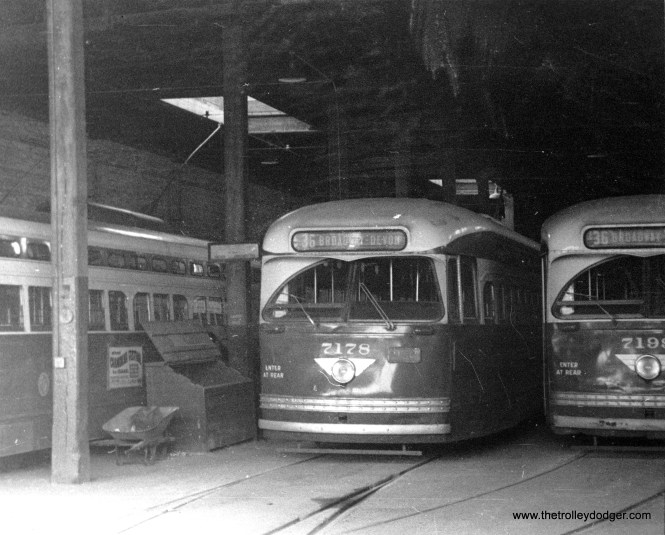 7178 and 7199 at Devon Station (car barn) circa 1954. George Trapp says you can tell this is Devon since they had wooden beams near the front, not steel. (Charlie Preston Photo)
