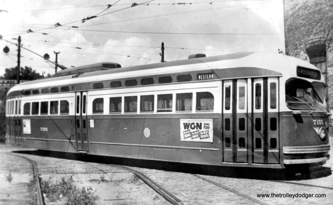 St. Louis-built 7155 is on Ravenswood Avenue with the Chicago & North Western embankment in the background. The side sign advertises AM radio station WGN, which still offers news and sports, but very little music nowadays. (CTA Photo)
