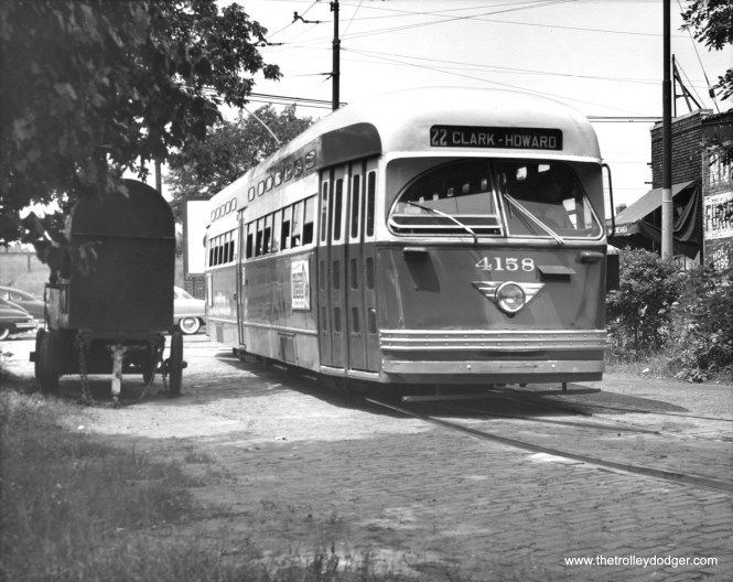 4158 entering the Clark-Howard loop on July 15, 1953. (Thomas H. Desnoyers Photo, Krambles-Peterson Archive)