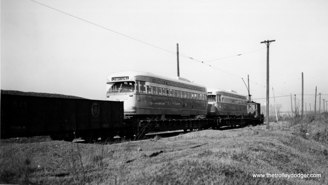 Another view of 4157 and 4156 being delivered to CSL on January 18, 1947. (Joe L. Diaz Photo)