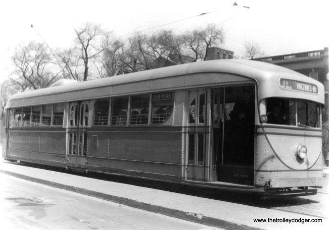 CSL 7001 at Clark and North Avenues, with the Chicago Historical Society building at rear (now the Chicago History Museum). (Edward Frank, Jr. Photo)