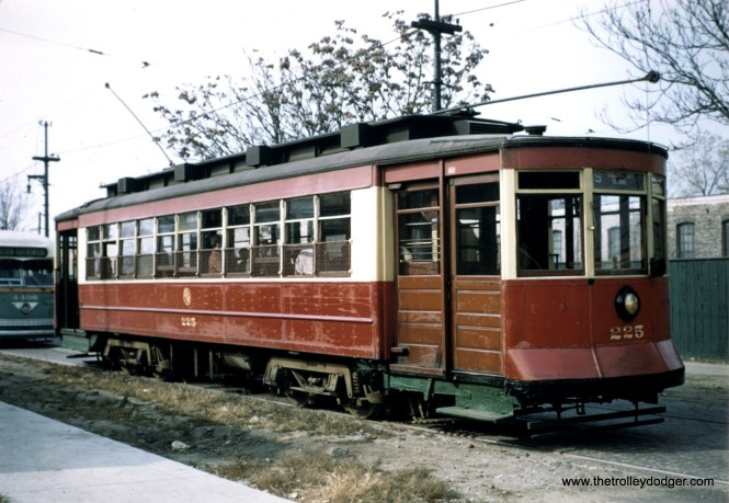 Big Pullman 225 is shown here on an October 21, 1956 fantrip, followed by postwar PCC 4406. By this time, red cars ddi not run in regular service, and PCCs were only used on weekdays on routes like Clark-Wentworth. Car 225 is preserved at the Seashore Trolley Museum in Maine.
