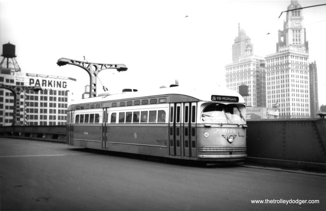 CTA 7070 southbound on the then-new State Street bridge over the Chicago River on February 25, 1950.