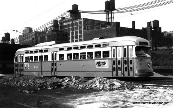 CTA 4165 southbound at Halsted and Congress on shoofly trackage, September 15, 1950. This was the beginnings of construction of the Congress (now Eisenhower) expressway, which opened in this area late in 1955. (Thomas H. Desnoyers Photo, Krambles-Peterson Archive)
