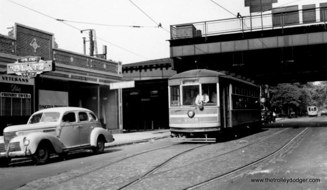 """CSL 2908 near the old Webster """"L"""" station, on the Webster-Racine line.  (Joe L. Diaz Photo)"""