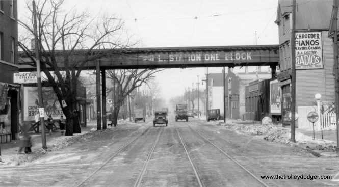 """This picture is identified as Ashland north of Roscoe on January 23, 1929. This would be the Ravenswood """"L"""" (today's Brown Line), and the """"L"""" station one block west is Paulina. We are looking north."""