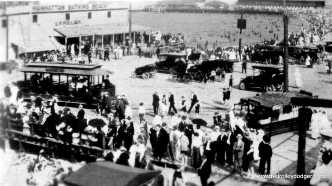 """An early Chicago City Railway streetcar at 75th Street and Manhattan Beach. According to the Encyclopedia of Chicago History, """"Located near Windsor Bathing Beach, Manhattan Beach (later Rainbow Beach) was a popular spot for middle-class boys and girls to meet in the early decades of the twentieth century. Some religious leaders and conservative politicians opposed this and other private beaches, claiming that they encouraged sexual promiscuity and the consumption of alcohol among minors. Rainbow Beach was also reclaimed by the city and operated as a municipal beach in the 1920s. """""""