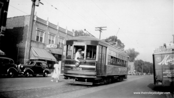 """CSL 3100 again, possibly getting ready to change ends. M. E. writes: """"The destination sign reads 103rd and Vincennes, which is where this photo was taken, facing northeast."""""""