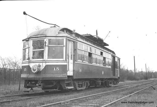C&WT line car 15, with its famous bent pole.The defect was apparently accidental, but it was certainly distinctive.