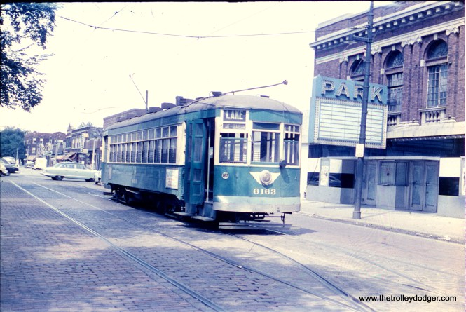 The Park Theatre appears shuttered in this early 1950s view of CTA 6183 at the west end of the Lake route at Austin Boulevard. Eventually, the building itself would be torn down.