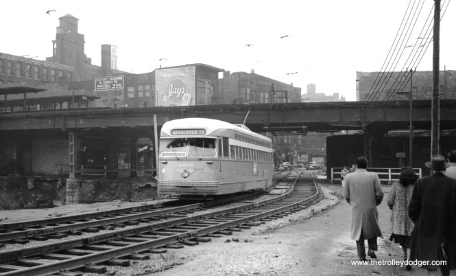 """CTA 4208 on a shoofly at Halsted and Congress circa 1950-51, during the early stages of construction on the Congress Expressway. Two of the four Metropolitan """"L"""" tracks were removed in this area, since they were in the expressway footprint. (M. D. McCarter Collection)"""