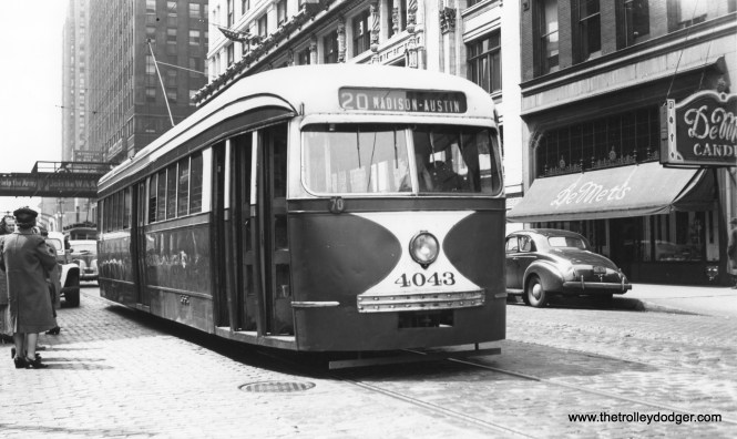 CSL 4043, despite the sign, is eastbound on Madison near LaSalle on May 12, 1945. (Thomas H. Desnoyers Photo, Krambles-Peterson Archive)