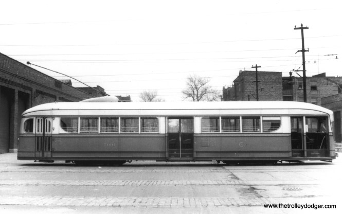 A side view of the 1934 Brill-built experimental pre-PCC 7001, with doors open.