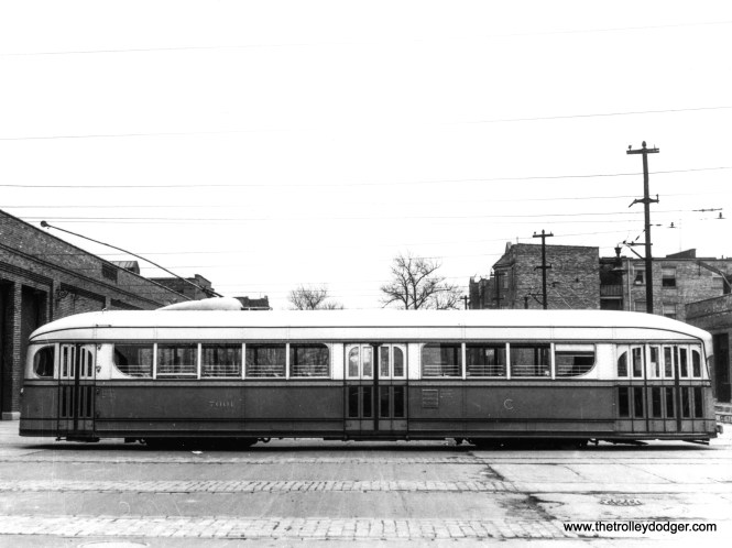 A side view of the 1934 Brill-built experimental pre-PCC 7001, with doors closed.