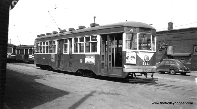 CTA 3381 at Cottage Grove and 115th, south end of route 4, on April 2, 1952. (Thomas H. Desnoyers Photo, Krambles-Peterson Archive)